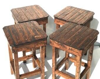 Modern Farmhouse Stool Set/Free Shipping/Vintage Bar Stool Set Of Four/ Rustic & Barstools | Etsy islam-shia.org
