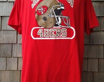 Vintage 80s San Francisco 49ers T Shirt - Large - Forty Niners