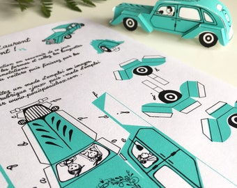 Set of 20, wedding gift, gift for guests, car pull customized papertoy game paper cut