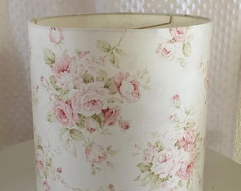 Cottage lamp shade etsy shabby cottage chic floral drum lampshade pink floral lamp shade kids room nursery aloadofball Gallery