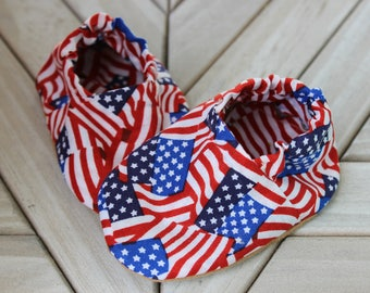American Flag baby shoes, USA baby shoes, fourth of july crib shoes, American flag crib shoes