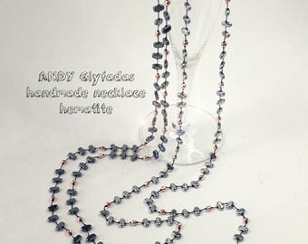 Handmade Rosario Charcoal Hematite,Rose Gold Hematite and Silver Hematite,Cord Silver Color Silk,Semi-Precious stones