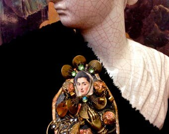 Renaissance pendant-Renaissance woman-History themed jewelry-Tin Jewelry/Ornate jewelry-Rejuvenated jewelry-Mixed Media-Unique pendant