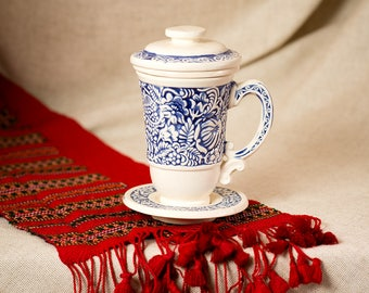Pottery ceramic tea-brewer with cover, strainer and saucer 330 ml. White-blue crockery, glazed pottery, handmade tableware