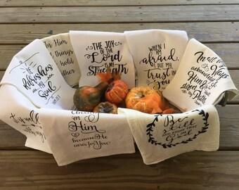 Scripture or Hymn Flour Sack Tea Towel-you choose design