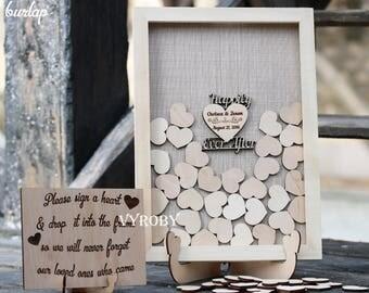 Rustic wedding decor Wedding guest book wood Happily ever after Guestbook wedding alternative Heart sign guest book burlap Drop box frame 3d