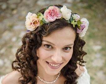 Ivory Pink Bridal Hair Wreath \ Bridal Flower Crown Floral Halo Wedding Floral Crown Bridesmaid Headpiece Wedding Flower Head Wreath