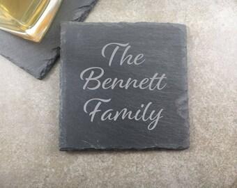 Engraved Coaster Set Personalized Slate Coasters Engraved Family Gift Personalized Wedding Gift Personalized Drink Coasters Custom Bar Gift