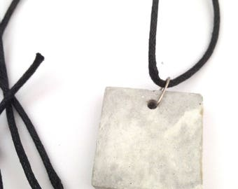 Marble Square Pendant Concrete Jewellery, Concrete Necklace, industrial jewellery, handmade necklace, hand poured pendant, minimalistic