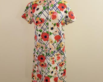 Vintage 60's Step-'n-Go Zip Front Barkcloth Floral Dress - VOLUP! 38-36-40