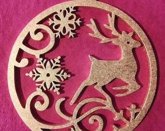 Modern design Christmas tree ornament - ball reindeer & snowflake
