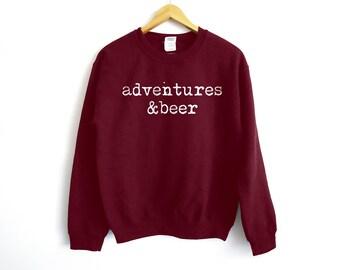 Adventures & Beer Sweater - Beer Sweater - Travel Sweater - Party Sweater - Funny Sweater - Camping Sweater - Fishing Shirt - Popculture