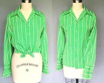 march / 1970s green geometric print long sleeve blouse / large xl