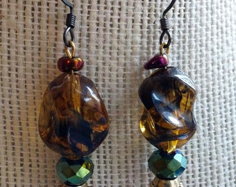 resin regalia earrings, smokey