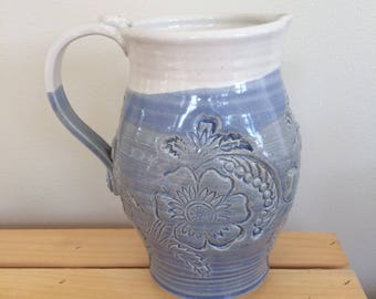 Clay Pitcher, Ceramic Pitcher, Blue and White Pitcher, Pottery Jug, Handmade, Gift for Her, Gift for Gardener, Ready to Ship, in Stock
