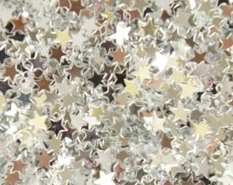 Silver Metallic Star Sequins