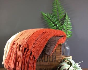 Afghan Blanket / Vintage Hand Made Afghan Blanket / Salmon Beige Brown Afghan Blanket / Vintage Afghan Blanket / Good Condition Afghan Throw
