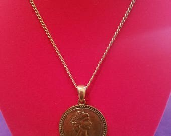Unique and Antique - Victorian Silver Tone Coin Medallion/Pendant Necklace - Fortune-Good Luck Charm! One of A Kind 60s/70s Fashion Jewelry