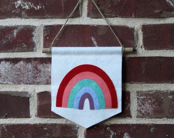Rainbow Banner- Girl's Room Decor- Custom Felt Banner