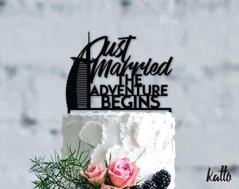 Wedding in Dubai cake topper- Wedding cake topper- Silhouette wedding cake topper-Personalized wedding Cake Topper-Just married