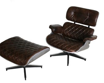 eames lounge chair and ottoman aviator style aluminum eames chair lounge chair with ottoman - Leather Lounge Chair