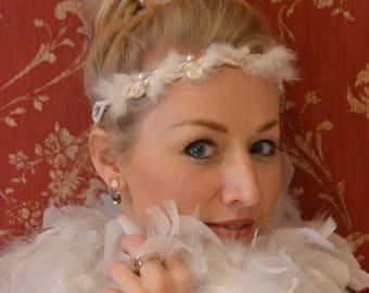 Headband ribbon with white fur