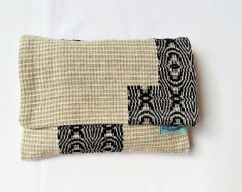 handwoven pouch folded in japanese style linen cotton, small bag 13x18cm  hand woven, pouch for smartphone or camera,tobacco pouch handwoven