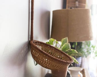 Vintage Hanging Wicker Basket, Hanging Rattan Wall Basket, Wicker Basket, Wall Basket