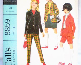 Mod 1960s McCall's 8859 Girls Jacket Skirt Pants or Shorts Ensemble Pattern Size 8 - retro, fitted jacket, vented skirt,tapered pant, preppy