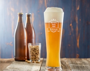 Engraved Wheat Beer Glass - World's Best Dad - Customised with Name of Your Choice - Birthday Gift - Father's Day Gift - Gift for Fathers