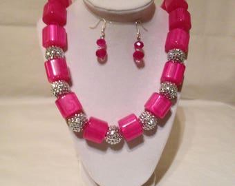 Pink Resin Necklace Earring Set