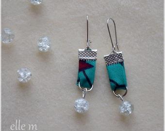 Original blue-green African fabric earrings