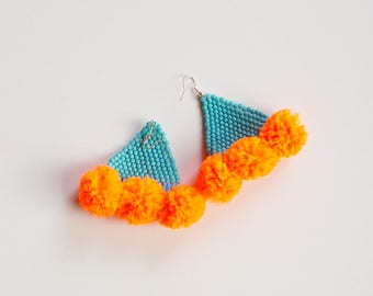 Beaded Pom Pom Earrings, Turquoise Blue and Orange, hand beaded, Valentine's day gift for her, colorful festive earrings, Statement earrings