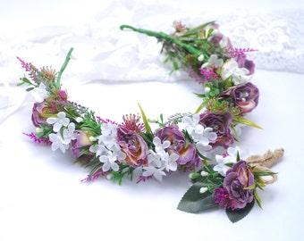 Wedding Flower Crown Groom's Boutonniere Flower crown Boutonniere set half wreath Floral Head Wreath Bridal Headpiece Wedding flowers button