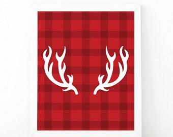Deer antlers, reindeer print, Christmas print, Christmas decor, antlers poster, christmas printable, deer print, Chritsmas wall art, holiday