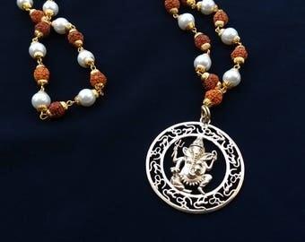 Ganesha mala necklace - Sacred mala Ganesha pendant - Rudraksha and freshwater pearl mala - Ethnic Indian necklace