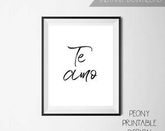 Spanish I love You Print Sign, Printable Spanish Wall Art Home Decor, Spanish Typography Print Sign
