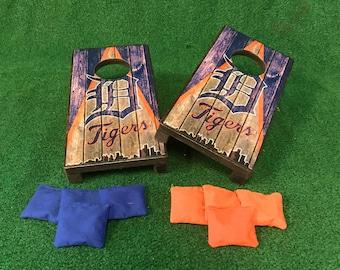 Detroit Tigers Mini Table Top Cornhole Boards with mini cornhole bags