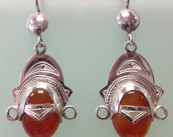 Tuareg Silver and Carnelian Agate Earrings