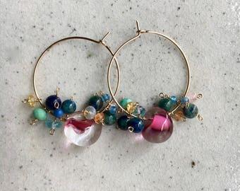 Teardrop glass Beads,Chrysocolla,Opal,Rose quartz,Blue onyx,Orenge sapphire, Green ammonite,Lapis lazuli,Blue apatite,14KGF