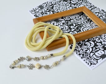 Necklace y lariat Bead crochet necklace Plus size fashion jewelry Long double wrap necklace Simple y necklace Bar lariat Stylish gift woman