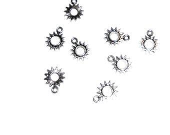 15PC. Mini Sunburst Antique Silver tone plated charm//DIY Silk Wrist Wrap Ribbon Bracelet Charm//15PC. DIY Star Charm 15MM