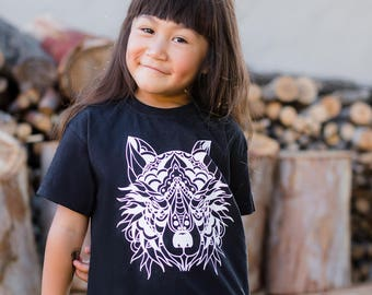 Kids wolf shirt, animal shirt, kids tattoo shirt, urban kids fashion, hipster kids shirt, kids tattoo, traditional tattoo, hip kids tee
