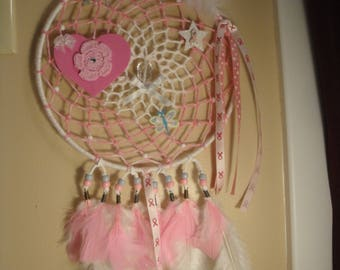 Breat Cancer Awareness Dreamcatcher with detachable pin