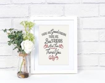 Best Friend Gift, Friendship Wall Art, Friends Quote Print, Gifts for Friends, Friends Wall Decor, Friends Artwork, Moving Away, PCS Gift