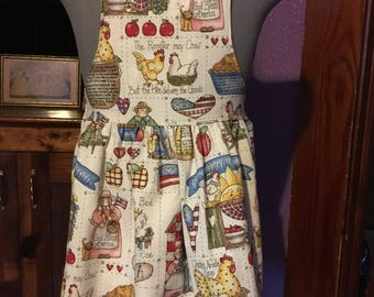 Country Kitchen With Recipies Girls Apron size 5-6