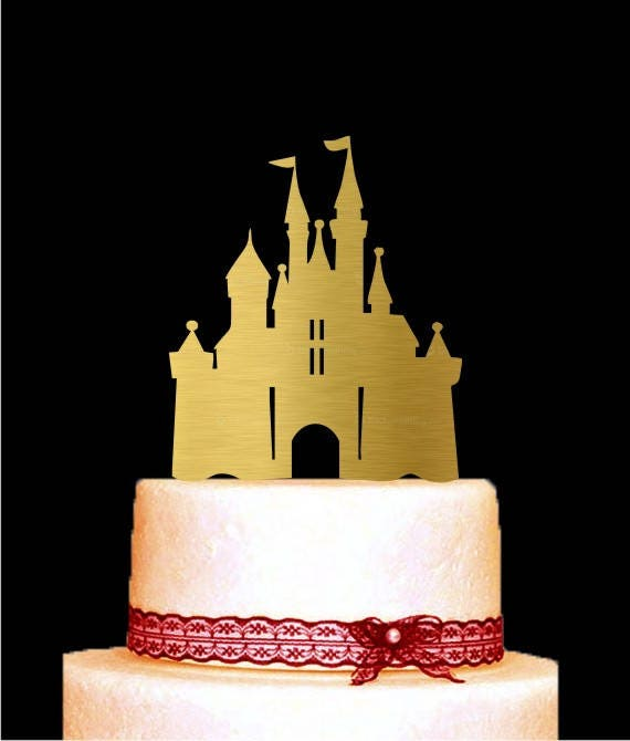 Castle Cake Topper Gold Wedding Cake Topper Disney Cake