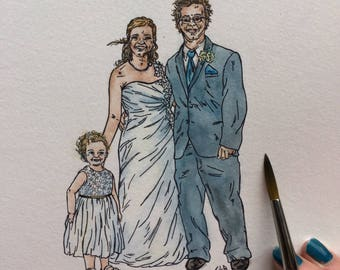CUSTOM WATERCOLOR PORTRAIT, Family Portrait Painting, Wedding Portrait Painting