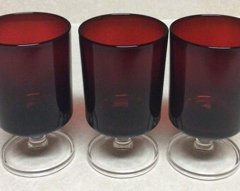 Arcoroc France Ruby red Body Clear Stem Water -Wine Glasses Set of 3