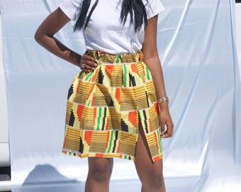 SAVANNAH Gathered Elastic Waist Kente Skirt